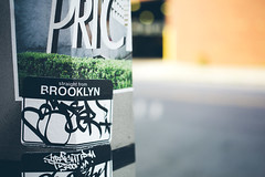 Brooklynite (TerryJohnston) Tags: nyc newyorkcity streetart newyork art graffiti words sticker dof bokeh tag letters pole urbanart slap fonts slapart canoneos5dmarkiii 5dmarkiii
