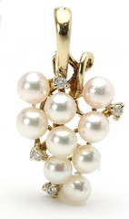 1043. Cultured Pearl and Diamond Pendant