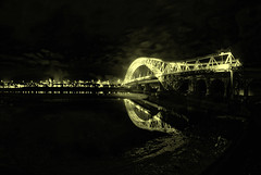 The Bridge (G8lite) Tags: nightphotography bridges finepix fujifilm manchestershipcanal rivermersey steelstructures runcornwidnesbridge s5pro afterdarkphotography thesilverjubileebridge g8lite