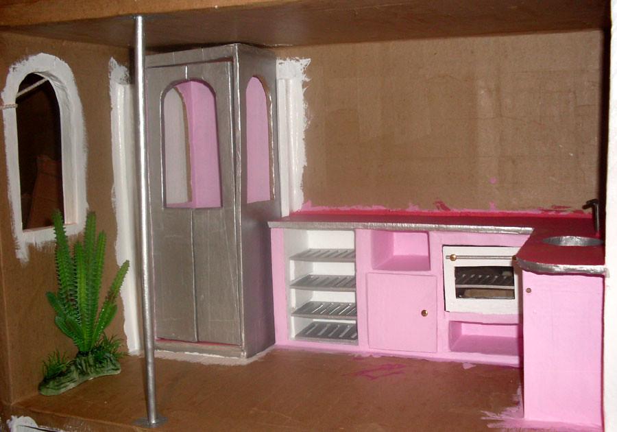 barbiecardboarddollhouse070 loulou chocolat tags pink kitchen rose cuisine barbie cardboard carton maison dollhouse - Cuisine Barbie