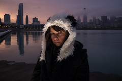 My Muse (Brian Koprowski) Tags: sunset portrait lake chicago girl night umbrella reflections pose evening women exposure downtown searstower lakemichigan muse secondcity adlerplanetarium windycity strobist tamron1750f28 willistower briankoprowski bkoprowski