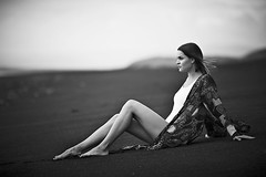 At the beach (LalliSig) Tags: ocean portrait people woman white black beach fashion iceland october gray portraiture