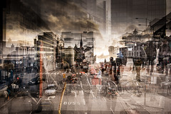 Wonderful life (petertandlund) Tags: street city people urban color chaos sweden stockholm doubleexposure streetphotography sthlm multiexposure norrmalm