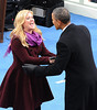 Singer Kelly Clarkson greets President Obama following her performance after the swearing
