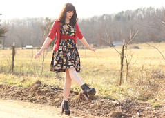 (Katie Burry) Tags: red summer girl outfit dress country missouri fields mustache cardigan jeffreycampbell litaspikes dahlclothes