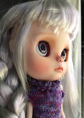 Longing for Adventure (Chassy Cat) Tags: wip blythe chassycat custom customized silver hair doll chassyknits thebearishcrafter eye chips
