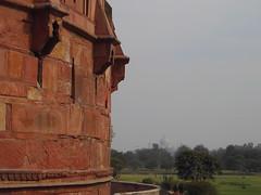 Agra. The Agra Fort walls.  Near the entrance to Agra Fort. The Taj Mahal is in the background. (denisbin) Tags: agra agrafort tajmahal moghul mogul india inlaidstonework pietradura