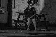 Smoke Break (IAN GARDNER PHOTOGRAPHY) Tags: streetphotography street woman womansmoking smoking monochrome blackwhite blackandwhite sitting