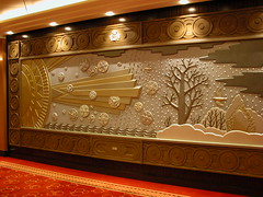 Artwork aboard the Queen Mary 2 (TheMachineStops) Tags: 2004 indoor art qm2 queenmary2 vacation travel cunard ship oceanliner artdeco redcarpet