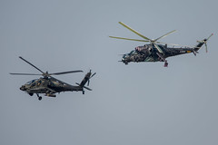 AH-64D and Mi-24V over Namest (Timm Ziegenthaler) Tags: mi24 hind ah64 apache boeing helicopter gunship