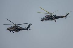 AH-64D and Mi-24V over Namest (Timm Ziegenthaler) Tags: mi24 hind ah64 apache boeing helicopter gunship