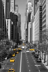NYC April 2016 (LMJones Photo) Tags: 20160416nyc 0058c nyc newyorkcity april spring vanishingpoint perspective above walkway unitednations cab taxi selectivecolor layer building tall skyscraper 20160413nyc newyork travel urban city april2016 firstvisit tourist canont3i yellow