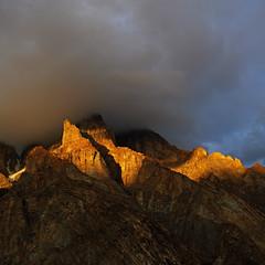 Bullah Peak: Golden shadows and a lowering sky (Shahid Durrani) Tags: karakorams karakoram biafo glacier baltistan pakistan