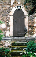 Germany.  June 12th.-20th. 1999 (Cynthia of Harborough) Tags: 1999 architecture churches doorways entrances lamps plants steps