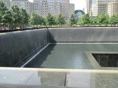 World Trade Center Memorial Fountains 2016 NYC 4350 (Brechtbug) Tags: 911 memorial fountain lower manhattan 2016 nyc footprint world trade center wtc ground zero september 11 2001 downtown new york city 2011 fdny public monument art fountains 08272016 foot print freedom tower today west skyscraper building buildings towers reflection pool water falls waterfalls wall walls pools tier tiered 15 years fifteen five