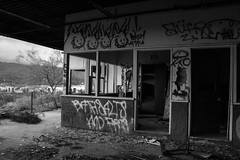 IMG_1479 (AustinBoyes) Tags: abandoned building desolate decaying dog track racetrack race dogs black white old desert phoenix graffiti destroyed landscape