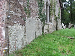 Cwmyoy - Church of St Martin (pefkosmad) Tags: stmartin church cwmyoy wales monmouthshire uk stmartinoftours medieval middleages placeofworship hallowedground holy leaning tower memorials cross font