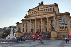 Berlin Concert House. Germany. (Svitlana Clover) Tags: appleiphone6s berlin germany europe vacation traveling autumn blue sky journey tour outdoor building architecture concerthouse people tree lantern sculpture column red yellow stairs