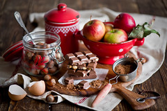 Baking with chocolate, hazelnuts and apples (The Little Squirrel) Tags: baking chocolate apples hazelnuts