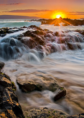 Makena Cove Sunset (mikeSF_) Tags: ocean sunset sun seascape beach mike sunrise landscape photography hawaii rocks waves pacific pentax secret maui limited k5 kihei wailea makena kahoolawe oria da21