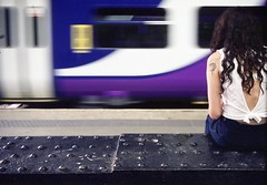 Girl waiting for train (polarisandy) Tags: colour film train 35mm fuji wait analogue filmic fujipro160c rollei35b