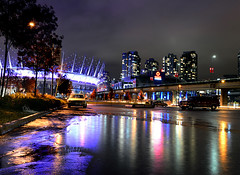 the Puddles are back!! (Christopher J. Morley) Tags: 3 color colour reflection cars water rain night vancouver puddle nikon downtown glow bc place purple parking lot arena rogers rippled jpeg d600 blackcard