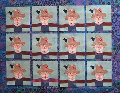 All 12 Scarecrow Bitties, BBC (FlossieBlossoms) Tags: fall quilt scarecrow fabric bbc bitty