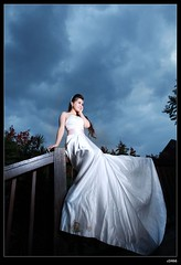 nEO_IMG_IMG_2114 (c0466art) Tags: blue light portrait white color face rain clouds canon pose bride model pretty day outdoor bad professional hong kong 5d shooting cloth elegant activity pure  c0466art