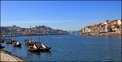 Porto river view (Una S) Tags: city bridge portugal buildings river boat view porto douro