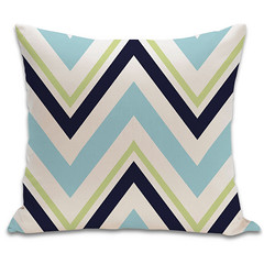 Chevron Organic Pillow in Surf, Lime, Ink, and Natural 18x18 (PURE Inspired Design) Tags: customfurniture organicfabric ecofriendlyfurniture woolrugs