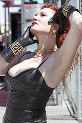 San Francisco Pride 2012 (Daluke) Tags: beauty leather fashion model parade redhead gloves athena sanfracisco sanfranciscopride leathergloves goddessathena