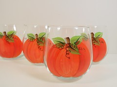 Pumpkin Stemless Red Wine Glasses Hand Painted Set of 4 (Painting by Elaine) Tags: thanksgiving autumn orange holiday fall halloween glass pumpkin glasses wine painted housewares handpainted homedecor glassware stemware paintedglass stemless handpaintedglass handpaintedglassware stemlesswineglasses handpaintedwineglass paintingbyelaine