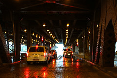 Rainy Day in Chicago - 10-14-2012 - Lower Wacker Dr. (RickDrew) Tags: bridge chicago wet water car rain fog grate lights illinois downtown traffic loop dr steel taxi tail il brake lower beams damp wacker chicagoland buttress