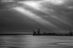Ray of light (king David Israel) Tags: travel light sea sky costa white black clouds port magazine poster landscape puerto photography lights coast mar blackwhite marine barco dream landschaft ocano rayodeluz