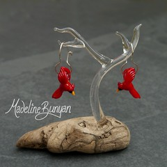 Cardinal Earrings (madelinebunyan) Tags: red bird glass birdie silver flying beads wings cardinal handmade flight earring sterling earrings lampwork birdies birdy sterlingsilver lampworked