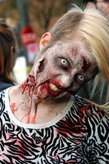 people usa white black halloween hair blackwhite blood eyes women midwest outdoor indianapolis blondes posing indiana nikond70s blouse horror undead zombies broadripple contactlens hoosier broadripplezombiewalk