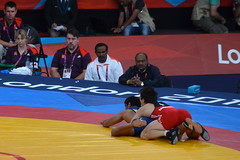 Freestyle Wrestling 66kg men - India (Sushil Kumar) beating Kazakhstan (Akzhurek Tanatarov) (3) (Bennet Summers) Tags: london freestyle wrestling olympics 2012 excel