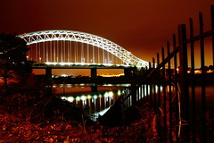 Runcorn Widnes Bridge (Barrie Scholes Photography) Tags: england night canon northwest railings mersey runcornwidnesbridge 1100d