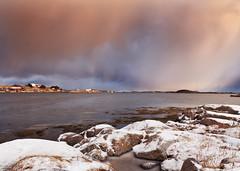 Snow Showers in Sunrise, Frøya (kkorsan) Tags: winter snow seascape water norway sunrise norge nikon sørtrøndelag d3 nordnorge 2012 frøya snowshower dyrøy båtvik nikond3 afsnikkor2470mm128ged centralnorway kalvøy mygearandme norrdyrøy