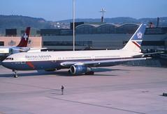 43bo - British Airways Boeing 767-336ER; G-BNWS@ZRH;07.11.1998 (Aero Icarus) Tags: plane aircraft flugzeug britishairways avion slidescan zrh zürichkloten boeing767300 gbnws landorcolours