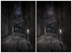Back Alley (-ytf-) Tags: nyc newyorkcity night 3d guesswherenyc nycunguessed stereo crossview ytf ytfnyc onepontperspective