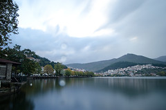 Rainy day @ Kastoria (Themis Mag) Tags: city mountain lake water rain 30 clouds lens nikon long exposure hill rainy sec hoya vilage kastoria nd400 d5100
