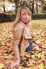 Bed of Leaves (Alice Horton.) Tags: park blue autumn portrait orange tree green nature girl yellow canon season golden eyes woods friend mark young teen ii blonde 17 5d 40 mm colourful ef