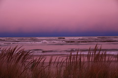 Lake Michigan, Dusk, Evening After Sandy Hit the East Coast (moonlightbaker) Tags: pink cold wisconsin windy lakemichigan roughwaves