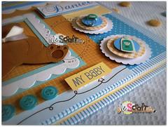 Livro do Beb: Argola de Metal! (Le Scraft) Tags: branco azul riodejaneiro scrapbook scrapbooking rj scrap menino niteri urso bege lbum ursinho lbuns lbumdobeb livrodobeb lescraft
