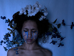 Disappointment (jadesastone) Tags: flowers blue paint crying bones collar emotions disappointment clavicles