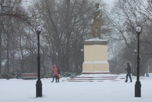 park, morning, snow