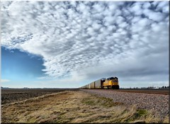 Have a little train with your sky ;-) (Theresa*) Tags: blue winter sky cold yellow clouds train oneofakind country trains unionpacific beautifulclouds skyclouds ilovetrains flickrnature beautifulcapture loverofnature natureandlandscapes trainphotography prettyfreakinsweet nikond7000 adayinthelifeofours postthebest onlythebestarememoriesthroughphotography
