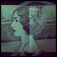 Another moleskine sketch. (the brilliant magpie) Tags: sky woman green moleskine face ink square sketch amy drawing profile squareformat brannan iphoneography instagramapp uploaded:by=instagram abshierreyes