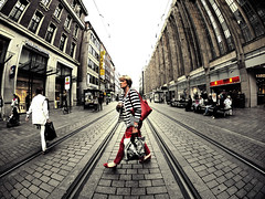 huntergatherer (fotobananas) Tags: life city urban lines fashion shopping sunday streetphotography saturday tram evolution olympus fisheye human bremen walimex ep1 sliders huntergatherer hss hcs obernstrasse fotobananas